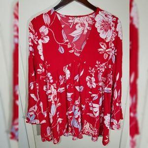 Women's Free People Floral Top Blouse Shirt Medium